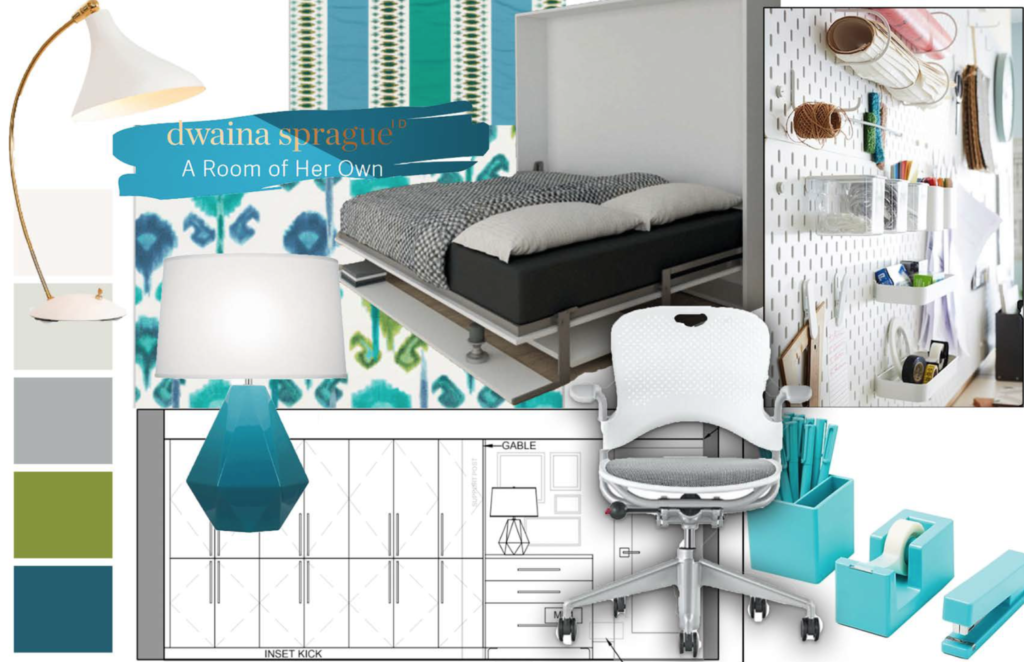 Mood Board showing fabrics, goods, furniture, colors and drawings.